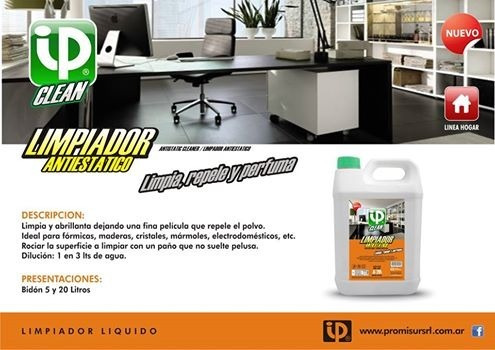 limpiador antiestatico concentrado 5lt ip clean brillo final
