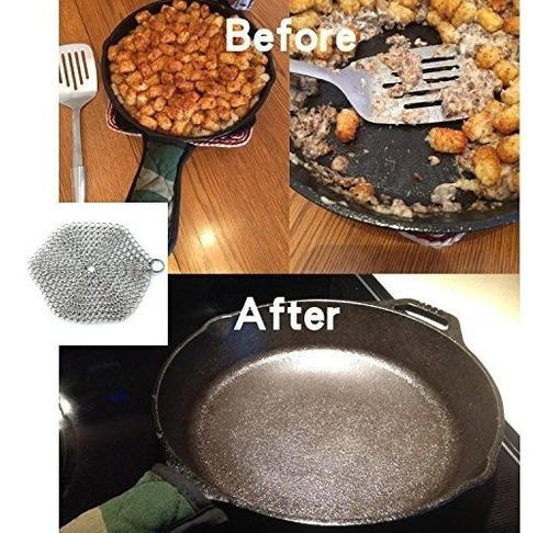 limpiador de hierro fundido de laukingdom, scrubber de chain