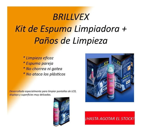 limpiador lcd espuma 440ml servex brillvex uso profesional
