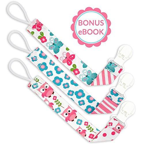 liname chupete clip para niñas con bonus ebook paquete de 3