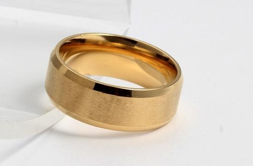 linda aliança anel banhada ouro 18k 8mm frete grátis (par)