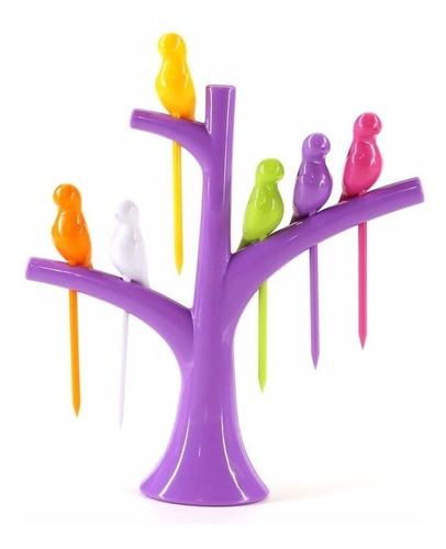 linda árvore palitos para petisco com passarinhos roxa