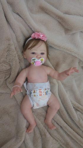 linda bebê reborn carmela! corpo inteiro, vinil siliconado