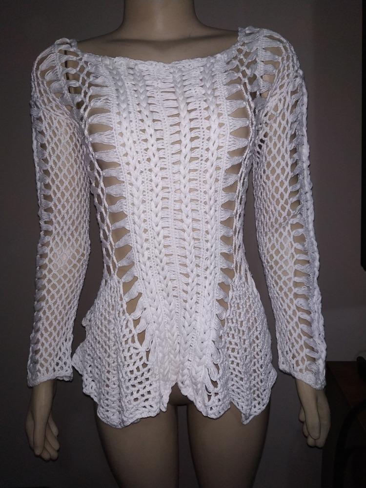 79d2e0b418dd linda blusa de crochê branca tamanho p. Carregando zoom.