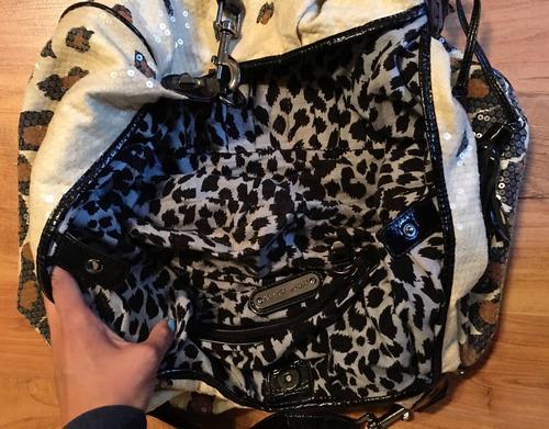 linda bolsa betsey johnson cheetah sequins grande original!!