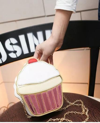 Linda Bolsa Cupcake Feminina Fofa Meninas Presente Infantil - R  59 ... 7d8229335a0