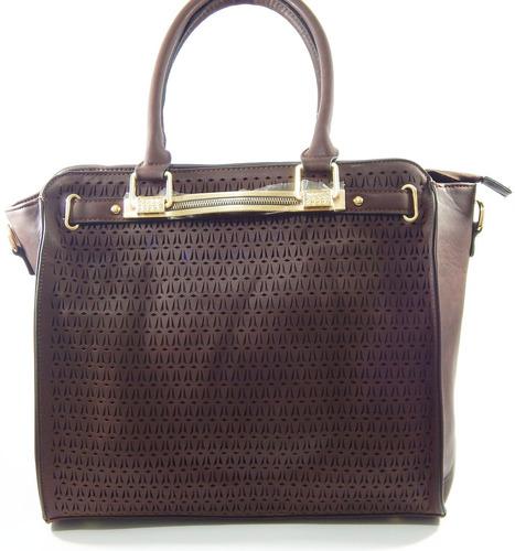 linda bolsa feminina couro sintético pu  marrom com dourado