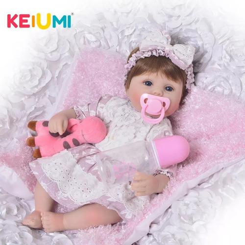 linda boneca bebe reborn corpo de pano brinde urso de peluci