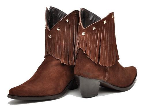 linda bota feminina bico fino texana franja cano curto :