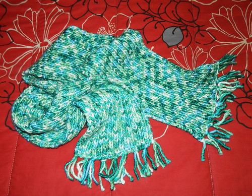 linda bufanda tejida a palillo 100% lana