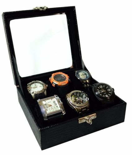 linda caixa, estojo em couro eco para 06 relógios