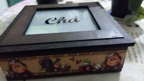 linda caixa porta chá tampa vidro jateado,envelhecida!!