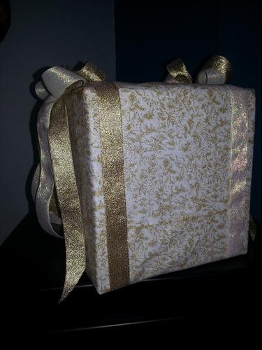 linda caja para sobres: regalos de boda o quince años dorada