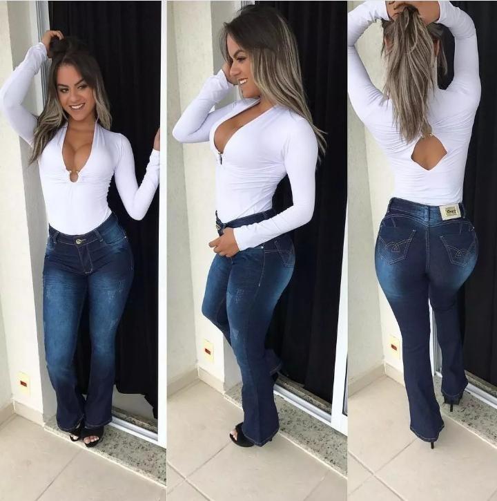 aaf9a487d Linda Calça Jeans Cós Alto Flare Feminina Levanta Bumbum - R  139