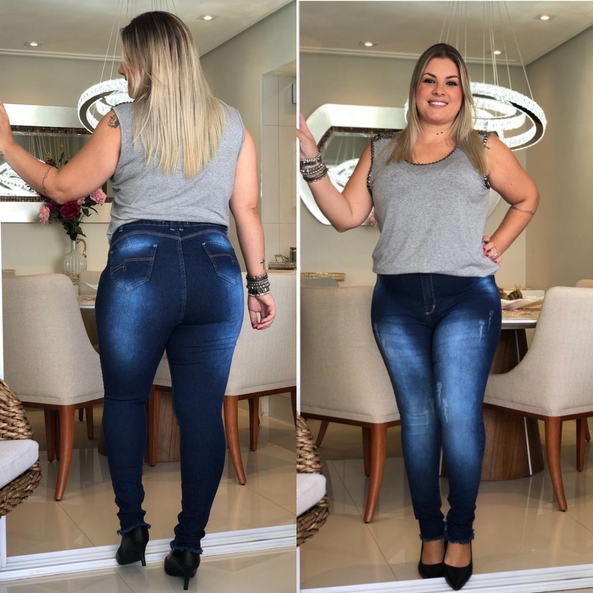75f6397884 linda calça plus size jeans skinny cintura allta lycra ! Carregando zoom.