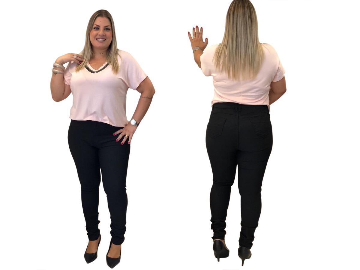 a62b0edac2 linda calça plus size jeans skinny cintura alta lycra flare! Carregando zoom .