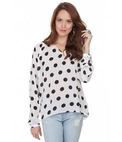 a6a6631fee Camisa Branca Com Bolinha Preta Feminina - Calçados