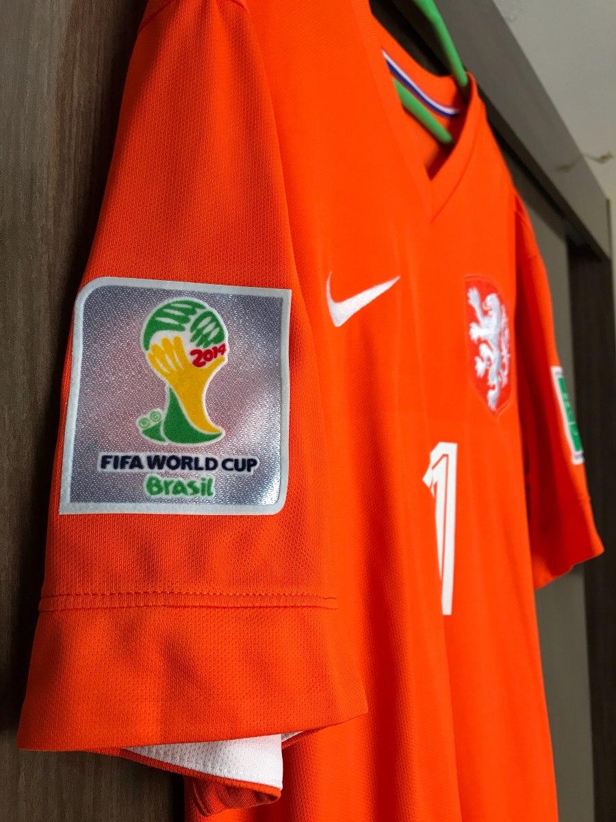 99983edb8 linda camisa holanda home 2014 #11 robben patches copa. Carregando zoom.