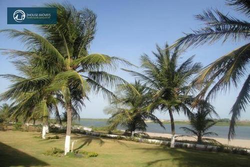 linda casa de praia com 25.000 m², 6 dormitórios, 4 suítes, 8 vagas, para locação por temporada, águas belas, cascavel. - ca0095