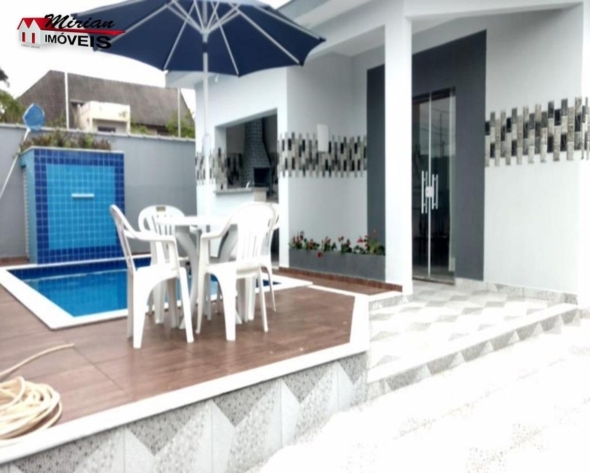 linda casa em bairro nobre com piscina 3 dormitórios sendo 1 suíte ,sala 2 ambientes, cozinha e wc. área gourmet com churrasqueira piscina e garagem para 4 carros. r$450.000,00  ve - ca00995 - 328585
