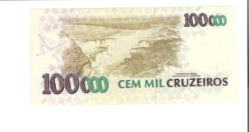 linda cédula c-229 - 100000 cruzeiros - primeira série !!!