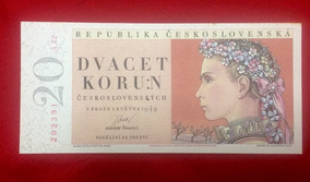 Tchecolosvaquia 20 Korun 1937 Prata - Cédulas no Mercado