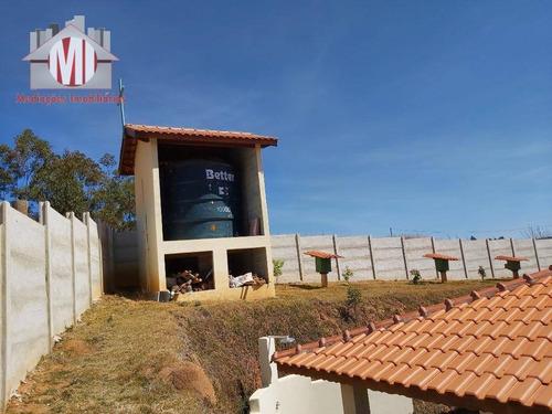 linda chácara com escritura, 03 dormitórios à venda, 1700 m² por r$ 335.000 - pedra bela/sp - ch0509