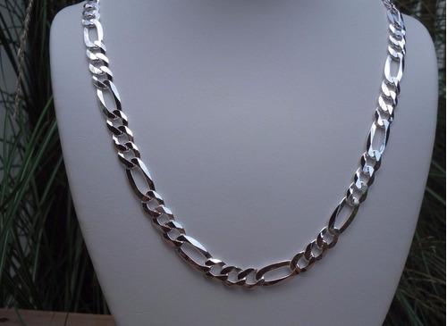 linda corrente masculina banhada em prata 9mm x 60cm