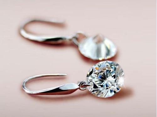 linda joia! brinco feminino prata 925 com diamante cz