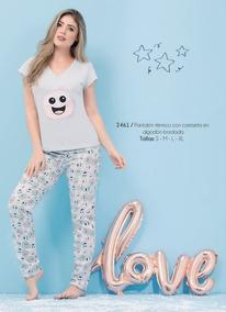 Con Pijama Pantalon 2461 Camiseta Algodon Mujer Para Termico qSzGVUMp