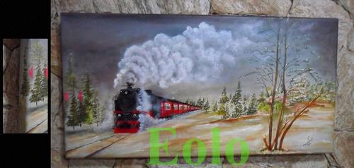 linda pintura de márcia weigel *tema trens * med. 40 x 80cm.