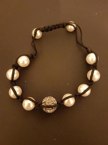 linda pulseira ajustável pérolas