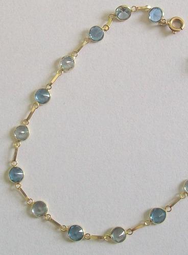 linda pulseira de ouro 18k com pedras de zirconias limajoias