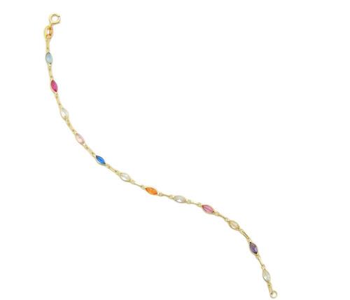 linda pulseira de pedras coloridas em ouro 18k