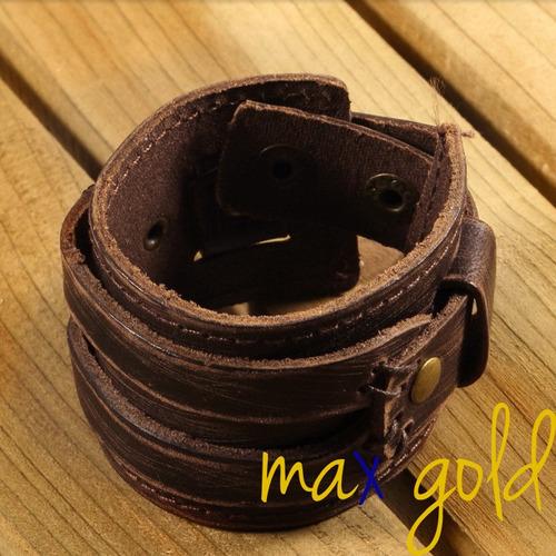 linda pulseira masculina de couro legítimo