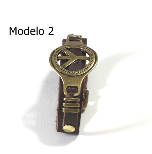 linda pulseira masculina ouro velho couro ecológico