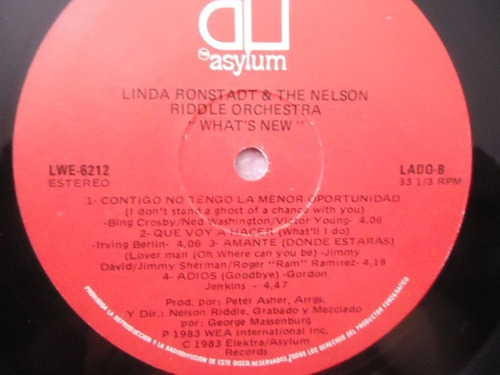 linda ronstadt & the nelson riddle orchestra / what´s new lp