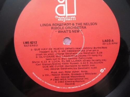 linda ronstadt & the nelson riddle orchestra what´s new lp g
