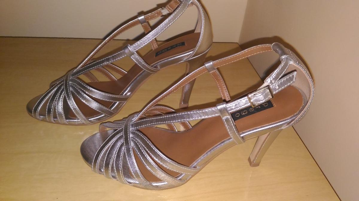 9fa8d749e Carregando zoom... linda sandália de salto alto fino cor prata marca prego
