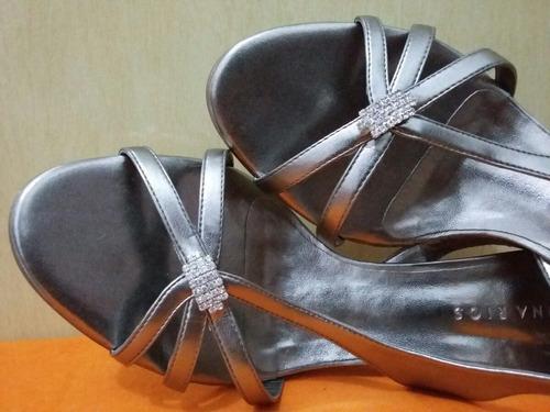 linda sandália prata regina rios salto 7cm tam. 36