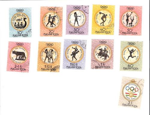 linda série de selos da hungria - olimpíadas de roma
