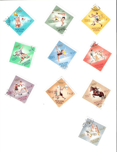 linda série de selos da hungria - olimpíadas de tóquio 1964