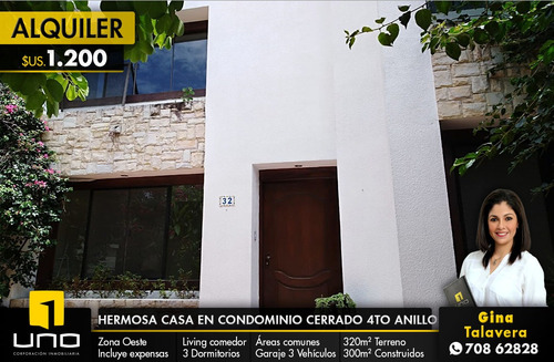 linda y amplia casa en condominio cerrado 4to anillo z/oeste