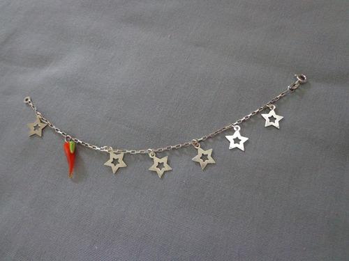 lindaa pulseira em prata 925 com pimenta e estrelas