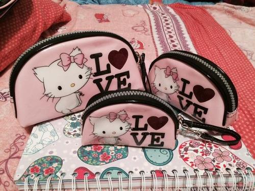 lindas x 3 piezas  charmmy  kitty porta cosmeticos monedero