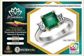 cd80b9cac86 Lindísimo Anillo En Oro Blanco 18k Con Esmeralda Genuina