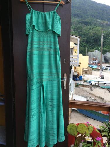 lindisimo vestido largo encaje verde fíesta importado