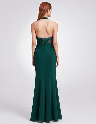 lindisimo vestido largo fiesta gala verde importado