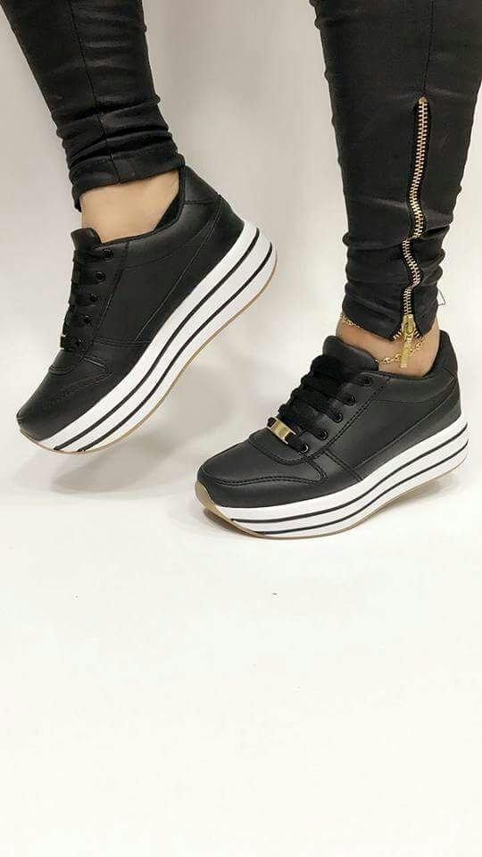 b2f0e371 lindisimos zapatos tenis negros deportivos zapato moda mujer ...