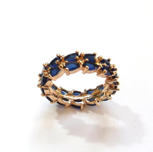 lindíssimo anel banhado a ouro com gemas naturais.